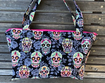 Day of the Dead, Skull fabric, vinyl lined bag, perfect for snack or lunch, cosmetics, makeup or even as a purse, Use as a fun gift bag