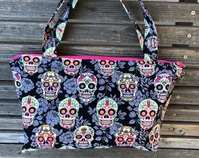 Featured listing image: Day of the Dead, Skull fabric, vinyl lined bag, perfect for snack or lunch, cosmetics, makeup or even as a purse, Use as a fun gift bag