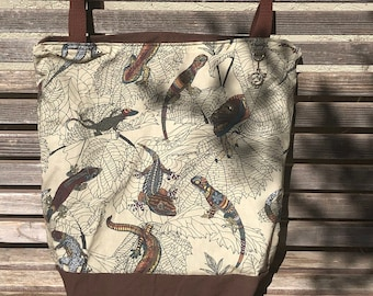 Deco Lizard reptile tote bag, Reusable shopping bag .  Great for groceries, shopping, lunch, books, diapers, or overnight bag , Canvas lined