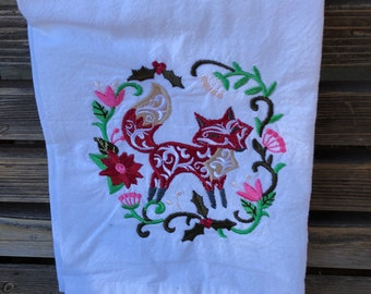 A Beautiful Winter Fox is embroidered on a white flour sack tea towel, dish towel, cotton