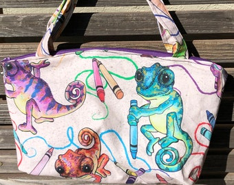 Chameleon, lizard, reptile fabric, vinyl lined bag, perfect for snack or lunch, cosmetics, makeup or even as a purse,