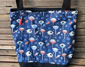 Space Station, Rocket tote bag, Reusable shopping bag Great for groceries, shopping, lunch, or overnight bag , Canvas lined