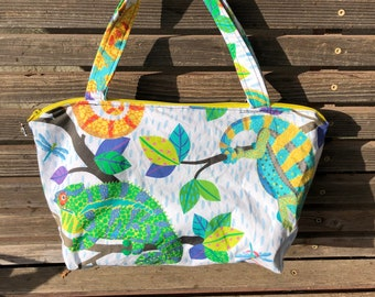 Bright Chameleons Lizard reptile  fabric, vinyl lined bag, perfect for snack or lunch, cosmetics, makeup or even as a purse,
