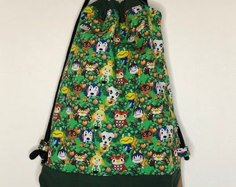 Animal Crossing Drawstring backpack, a fun accessory for any outfit, Canvas lined and bottom for durability, pocket