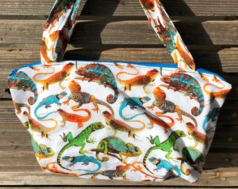 Lots of Lizard reptile  fabric, vinyl lined bag, perfect for snack or lunch, cosmetics, makeup or even as a purse,