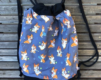 Corgi, dog, pet  Drawstring backpack, a fun accessory for any outfit, Canvas lined and bottom for durability, pocket