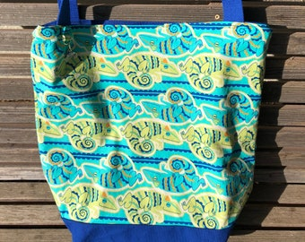 Chameleon Reptile, Lizard, tote bag, Reusable shopping bag Great for groceries, shopping, lunch, or overnight bag , Canvas lined