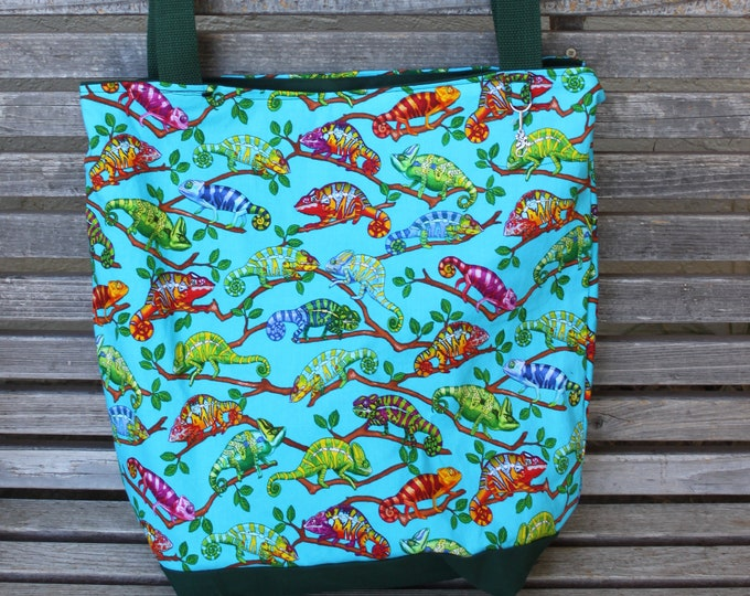 Featured listing image: Chameleon Lizard reptile tote bag, Reusable shopping bag, groceries, lunch, books, diapers, or overnight bag , Canvas lined and bottom