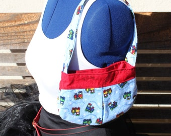 Trains small bag, child sized or small purse.  Lined in Coordinated cotton
