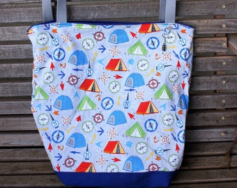 Camping, Compass, Map tote bag, Reusable shopping bag, Great for groceries, lunch, books, diapers, or overnight bag, Canvas lined and bottom