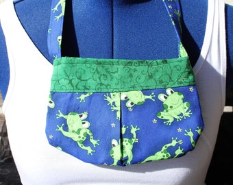 Happy frogs playing small bag, child sized or small purse.  Lined in Coordinated cotton