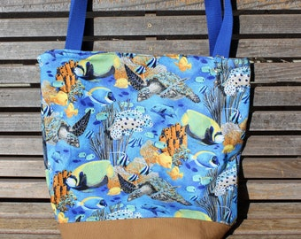 Under the sea, turtles, fish, ocean, coral tote bag, Reusable shopping bag, groceries, lunch, books, diapers, or overnight bag, Canvas lined