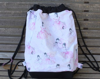 Ballerina Dancers Drawstring backpack, a fun accessory for any outfit, Canvas lined and bottom for durability, inside pocket