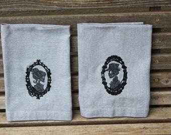 His and Hers skeleton cameo embroidered napkins, Dinner Napkins 19x19 Gray/Green, 100% Cotton, set of 2