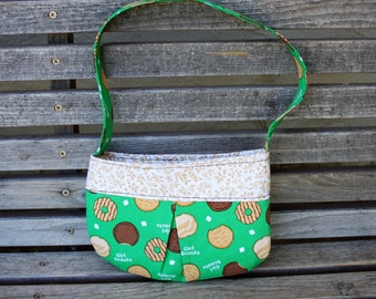 Little girl Girl Scout Cookies small bag, child sized or small purse.  Lined in Coordinated cotton