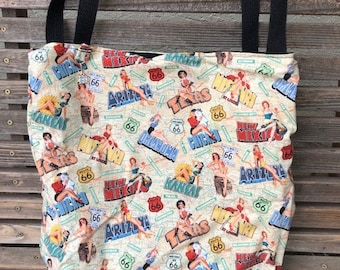 Route 66 Pin up girls USA tote bag, Reusable shopping bag  groceries, lunch, books, diapers, or overnight bag , Canvas lined and bottom