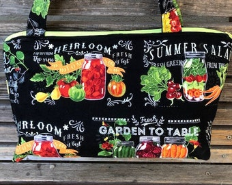 Farm to Table, canned vegetable fabric, vinyl lined bag, perfect for snack or lunch, cosmetics, makeup or even as a unique purse.