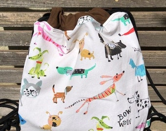 Child Drawn Dog and Cat Drawstring backpack, a fun accessory for any outfit, Canvas lined and bottom for durability, inside pocket