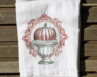 Pumpkin in Urn, fall halloween embroidered on a white flour sack tea towel, dish towel, cotton, large aprox 27x31