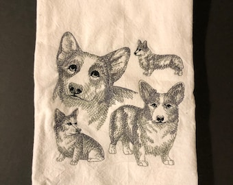 Corgi's are embroidered on a white flour sack tea towel, dish towel, cotton, large