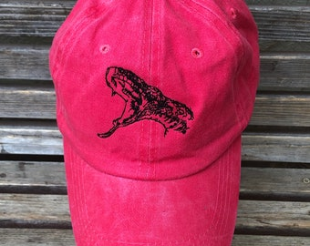 A drawing of a Snake is  Embroidered on a Baseball Hat Cap, Adjustable hat, adult, dad hat, trucker hat