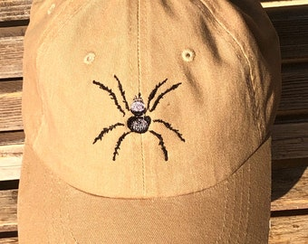 A creepy black spider is  Embroidered on a Baseball Hat Cap, Adjustable hat, adult, dad hat, trucker hat