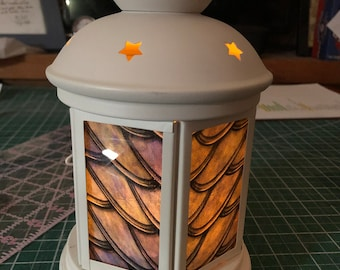 Fun Scales, dragon, lizard, fish, reptile  Lantern, Nightlight.   Perfect for bedside or bathrooms, includes battery tea light
