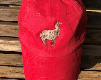 A Llama is  Embroidered on a Baseball Hat Cap, Adjustable hat, adult, dad hat, trucker hat