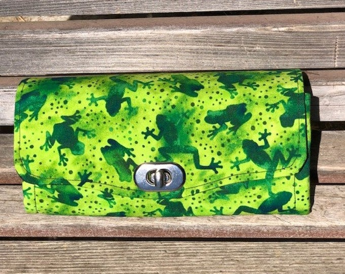 Featured listing image: Frogs wallet, based on the NCW pattern, Accordian wallet. Lots of places for necessities, removable crossbody and wrist strap