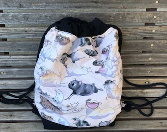 Cartoon Corgi, dog, pet  Drawstring backpack, a fun accessory for any outfit, Canvas lined and bottom for durability, pocket