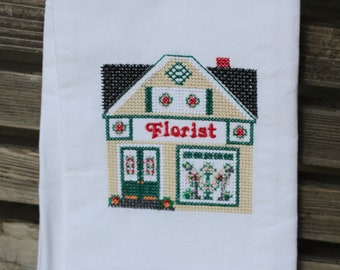 Florist Store in a cross stitch style embroidered on a white tea towel, dish towel, flour sack, cotton, large