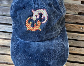 A pair of plaid lizard, gecko is  Embroidered on a Baseball Hat Cap, Adjustable hat, adult, dad hat, trucker hat