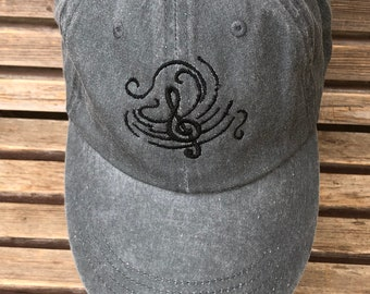 Musical notes are  Embroidered on a Baseball Hat Cap, Adjustable hat, adult, dad hat, trucker hat