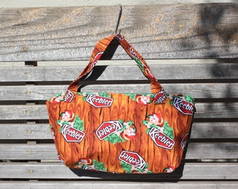 Keebler Elves fabric, vinyl lined bag, perfect for snack or lunch, cosmetics, makeup or even as a unique purse