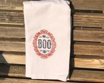Halloween Boo embroidered on a white flour sack tea towel, dish towel, cotton,