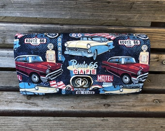 Rt Route 66 Americana wallet, based on the NCW pattern, Accordion wallet.  places for necessities, removable crossbody and wrist strap