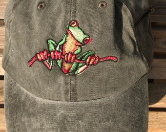 Tree frog is  Embroidered on a Baseball Hat Cap, Adjustable hat, adult, dad hat, trucker hat