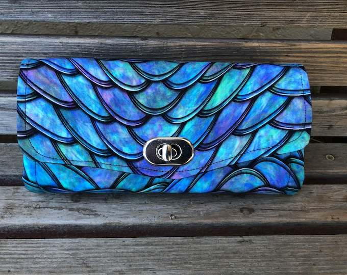 Featured listing image: Lizard Dragon scales fabric wallet, based on NCW pattern, Accordion wallet. Lots of places for necessities, roomy.  Clutch and Crossbody