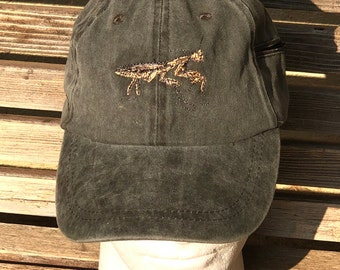 A praying mantis is  Embroidered on a Baseball Hat Cap, Adjustable hat, adult, dad hat, trucker hat
