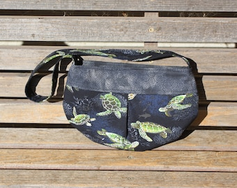 Sea Turtles small bag, child sized or small purse.  Lined in Coordinated cotton
