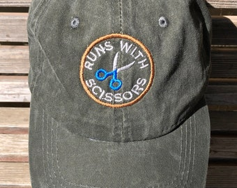 Runs with scissors Embroidered on a Baseball Hat Cap, Adjustable hat, adult, dad hat, trucker hat