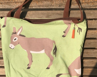 Donkey tote, Reusable shopping bag, Great for groceries, lunch, books, diapers or overnight bag, Canvas lined and bottom