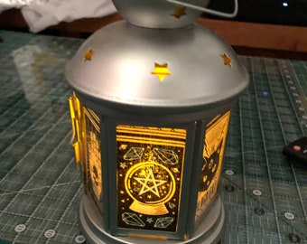 Tarot Cards Lantern, Nightlight.   Perfect for bedside or bathrooms, includes battery tea light.  Glow in the dark or tea light