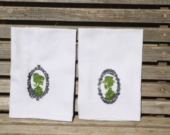 His and Hers skeleton cameo embroidered napkins, Dinner Napkins 19x19 white, 100% Cotton, set of 2