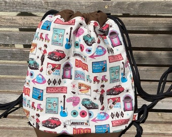 Mel's Diner vintage retro Drawstring backpack, a fun accessory for any outfit, Canvas lined and bottom for durability, inside pocket