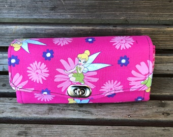 Disney Tinkerbell wallet, based on the NCW pattern, Accordion wallet.  places for necessities, removable crossbody and wrist strap