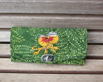 Frilled Lizard embroidered on wallet, based on the NCW pattern, Accordian wallet. Places for necessities removable crossbody and wrist strap