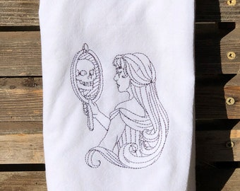 Skull reflection Halloween embroidered on a white flour sack tea towel, dish towel, cotton