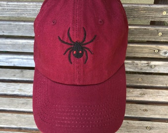 Black widow spider is  Embroidered on a Baseball Hat Cap, Adjustable hat, adult, dad hat, trucker hat