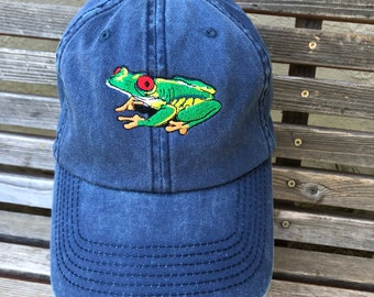 A rainfrest frog is  Embroidered on a Baseball Hat Cap, Adjustable hat, adult, dad hat, trucker hat